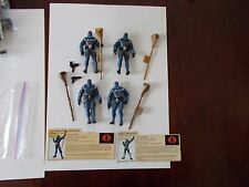 "2002 G.I. JOE 3 3/4"" LOT OF 4 COBRA COMMANDERS , 4 STAFFS , 2 GUN , 2 FILE CARDS"