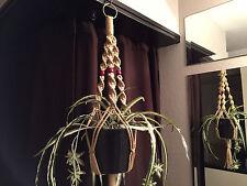 """Short Macrame Plant Hanger 30"""" SAND 3 Red Beads"""