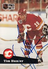 1991 TIM HUNTER #19 Calgary FLAMES Autographed Signed Hockey PRO SET Card 366