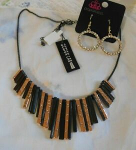 Design Lab Necklace NWT $42, Black, Rose Gold w/ Rhinestones & Earrings Set 2