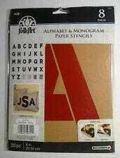 "Plaid Folkart Paper Stencils ~ Alphabet & Monogram ~ 8"" Script ~ NEW"