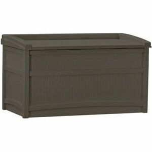 50 Gallon Outdoor Storage Bench Patio Box Garden Deck Yard Pool Furniture Brown