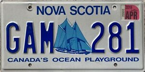 Nova Scotia Bluenose Yacht Canadian License Canada Licence Number Plate GAM 281