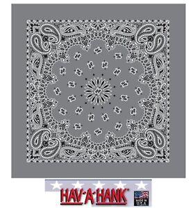 USA Made HAV-A-HANK CHARCOAL Gray Paisley BANDANA FACE Mask Neck SCARF Head Wrap
