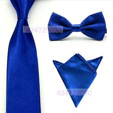Men Satin Solid Color Bowtie Bow Tie Ties Handkerchief Pocket Square Hanky Set