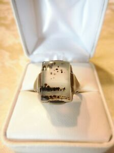STERLING SILVER Mens Vintage Moss Agate Ring Sz 10.25 (J85)