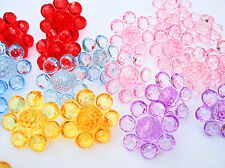 30 Sparkly Flower Plastic Jewel Sewing Shank Button/girl/kids/Trim/Notion Sb72