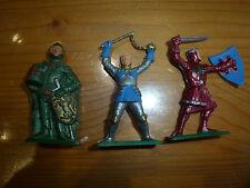 Lot de 3 figurines / soldats, moyen age, Starlux