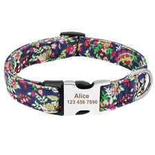 Personalized Boho Tribal Floral ID Dog Collars Laser Engraved Metal Buckle S M