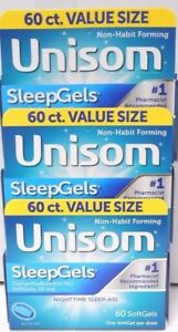 Unisom SleepGels Diphenhydramine HCl SoftGels, 60ct (3 Boxes 180 Softgels Total)