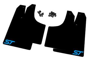 Mud Flaps Ford Focus Mk2 ST ST225 Black with Blue ST Logo - 4mm PVC MSA Rally