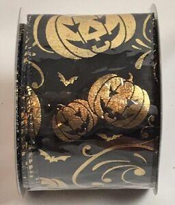"""Darice Halloween Ribbon Black Gold Pumpkins Bats Wired 2.5"""" X 25 Feet, Spool"""