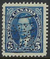 Perfin R7-R&Q/COS (Montreal, QC): Scott 235, 5c King George VI Mufti, Position 6