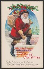 Christmas-Santa-Red Suit-Gloves-Bag of Toys-Chimney-1511-Antique Postcard
