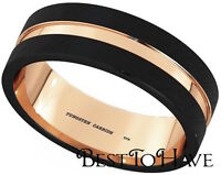 New Boxed Rose Gold Gp Black Tungsten Carbide Mens Wedding Band Ring 8mm
