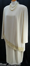 URSULA crepe Chiffon layer Dress Gown mother of the Bride mock 2 pc VTG SZ L XL