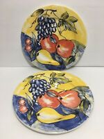 Pier 1 One Discontinued Handpainted Fruit Ceramic Dinner Plates Made In Italy