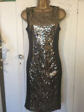 Bodycon Panel Gold Sequin BlackDress 8 Boohoo Christmas Party Occasion New