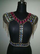 Womens Crystal Tassel Crop Tops Sexy Boho Bralette Bra Bikini Metal Body Chains