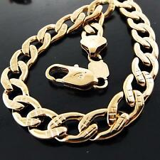 FSA052 GENUINE 18K ROSE G/F GOLD SOLID DIAMOND CUT CURB MEN'S NECKLACE CHAIN