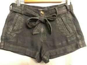 American Eagle womens sz 2 - dark gray/blue BELTED Linen Blend Chino Shorts