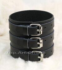 Punk Black 3 Row Buckle Leather Men Bracelet Bangle Wristband Cuff FASHION wh2n
