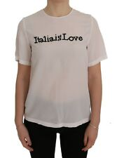 NEW $940 DOLCE & GABBANA Blouse T-shirt White Silk ITALY IS LOVE IT40 / US6 / S