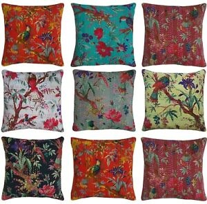 "Indian Handmade Kantha Stitch Cushion Cover Bird Pattern Pillow Case Ethnic 16"""