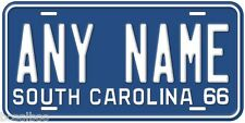 South Carolina 1966 Any Name Novelty Car License Plate