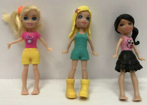 Doll Lot Of 3 Dolls Pre Owned Small Barbie Style W/ Some Clothing, Shoes, Etc. N