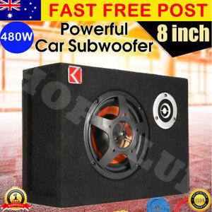 "AU 8"" Car Subwoofer Under-Seat Sub Woofer 480W Speaker Stereo Slim Amplifier 4Ω"