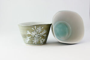 HAND THROWN SQUARE SUGAR BOWL BY TREGEAR POTTERY - AGAPANTHUS