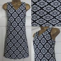 NEW EX Dorothy Perkins Tunic Mini Dress Summer Sleeveless Retro Black White 6-16