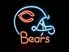 "Chicago Bears Helmet Neon Sign Wall Decor Pub Gift 20""x16"" Light Lamp"
