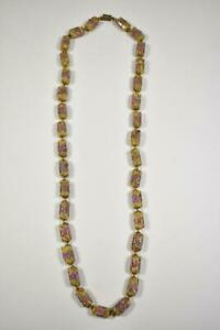 """Vintage Murano Glass Bead Necklace 28"""" Yellow & Rose"""
