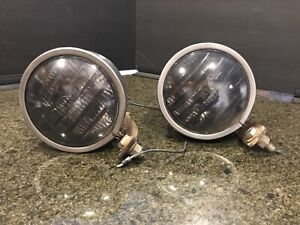 GENUINE PER-LUX 200T LOUVERED VINTAGE DRIVING LIGHTS w Brackets