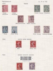 France. 1903 -1919. THREE PAGES. Postage Dues, Sower, and G.C. Granite Paper.