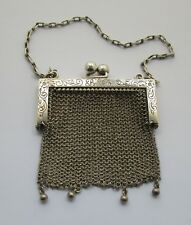 Victorian Art Nouveau Ladies Sterling coin purse with Chain Circa 1890-1910