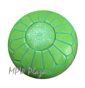 MPW Plaza Pouf, Green, Moroccan Leather Ottoman (Stuffed)