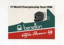 Adesivo Formula 1 F1 World Championship team 1984 BENETTON ALFA ROMEO sticker