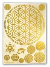 Flower of Life, 12 Stickers (1 BIG sheet), Metatron Kabbalah, Transparent, Gold