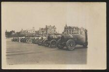 REAL PHOTO Postcard EUROPEAN AUTO RACE TRACK w/Racing Car Line Up view 1910's