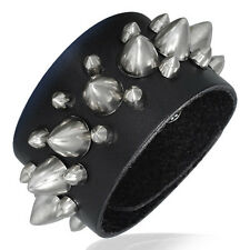 Black Leather Row of Cone Spikes Stud Snap Wristband Unisex Bracelet