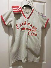 Vtg Exchange Club Childs Baseball Uniform Sponsored With Red Socks & Trim