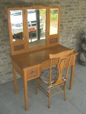 Antique Vanity Set - Bird's Eye Maple -Chair, Folding Mirror- Northern Furn. Co.
