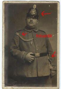 Foto 1 WK Portrait Polizei mit Tschapka Uniform + Schützenschnur Eichel Bajonett