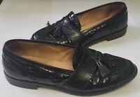 Johnston Murphy Cellini Black Crocodile Print Slip On Dress Loafers Men's 8 M