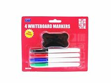 4 Colour Set Whiteboard Pens Marker & Eraser Rubber Stationery Office School