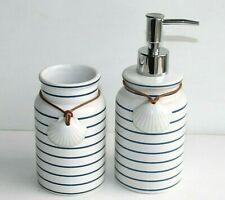 White & Blue Toothbrush Holder & Soap Pump Dispenser Nautical Coastal