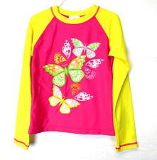 Hanna Andersson Girls Pink & Orange Butterfly Long Sleeve Swim Shirt Size 130